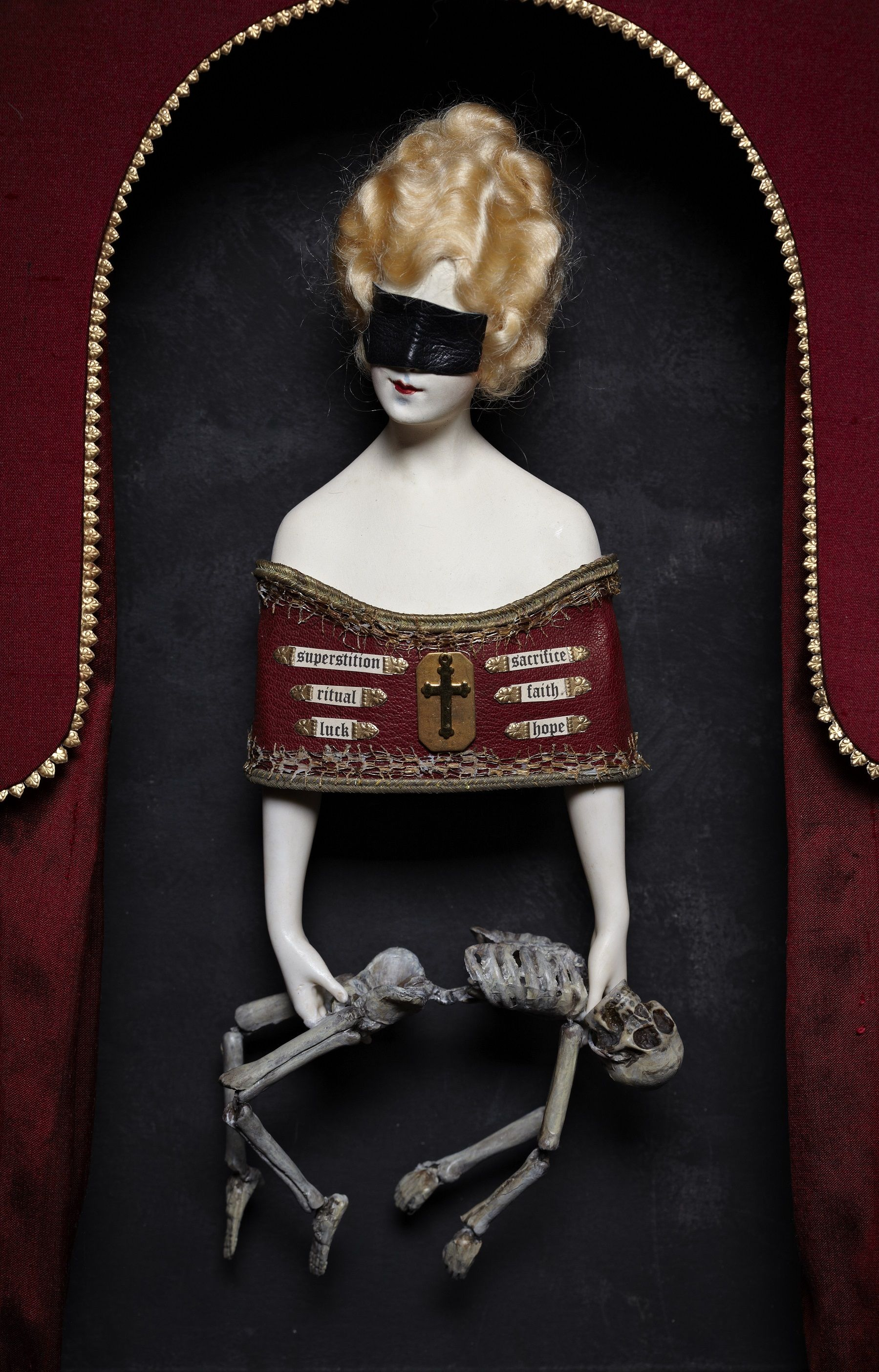 Clay skeleton, antique doll bust, papier mache, leather, paper. interior 'THESE FRAGMENTS I HAVE SHORED AGAINST MY RUIN'