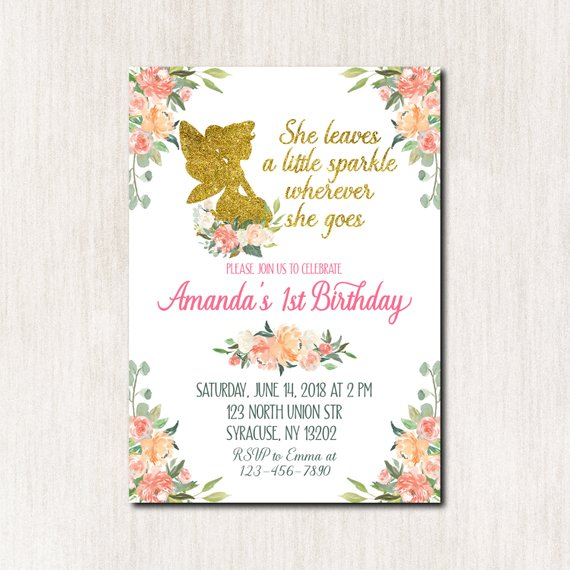 Fairy 1st Birthday Invitation Pixie Party First Printable F