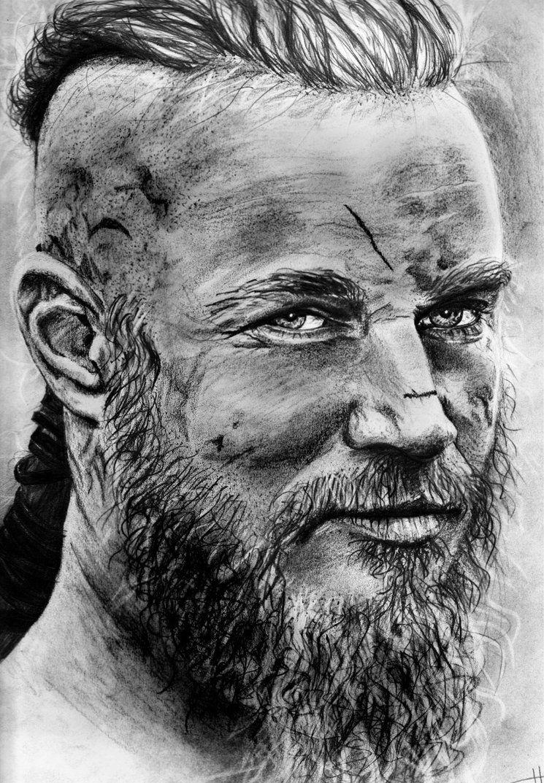 Beautiful black and white ragnar lothbrok drawing my for Ragnar head tattoo stencil