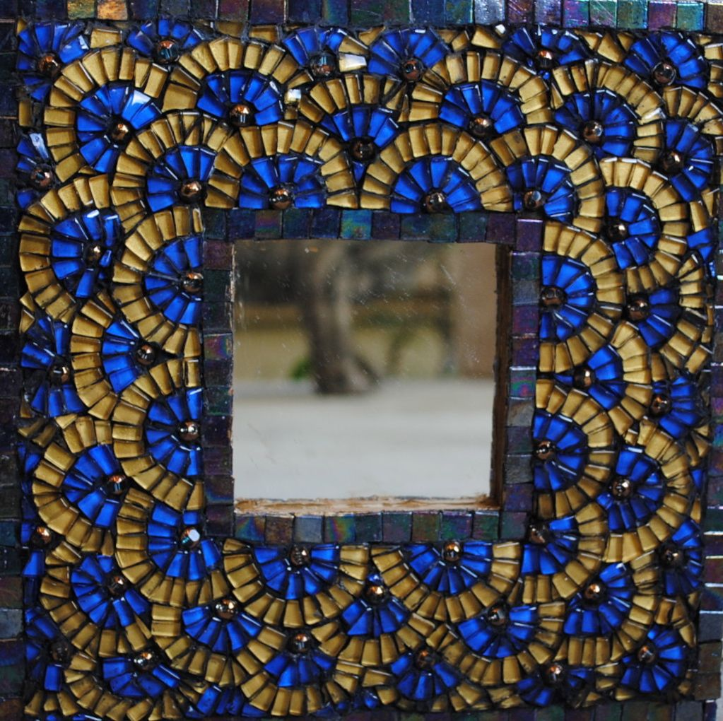 tile & mosaic for sale | blue and gold mosaic mirror | artsyhome
