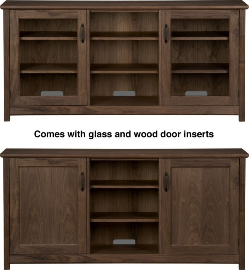 Ainsworth Walnut 64 Media Console With Glasswood Doors Wood