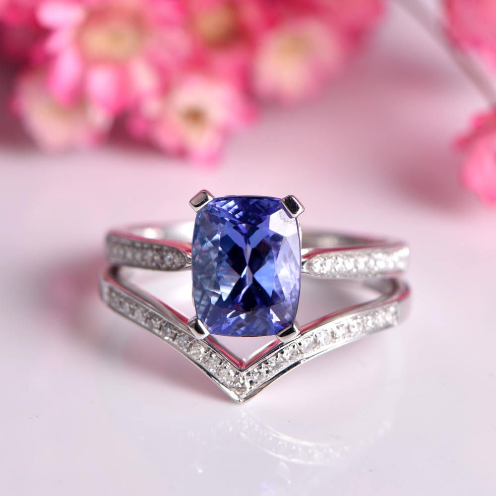 Tanzanite ring set cushion cut tanzanite engagement ring 7x9mm main ...