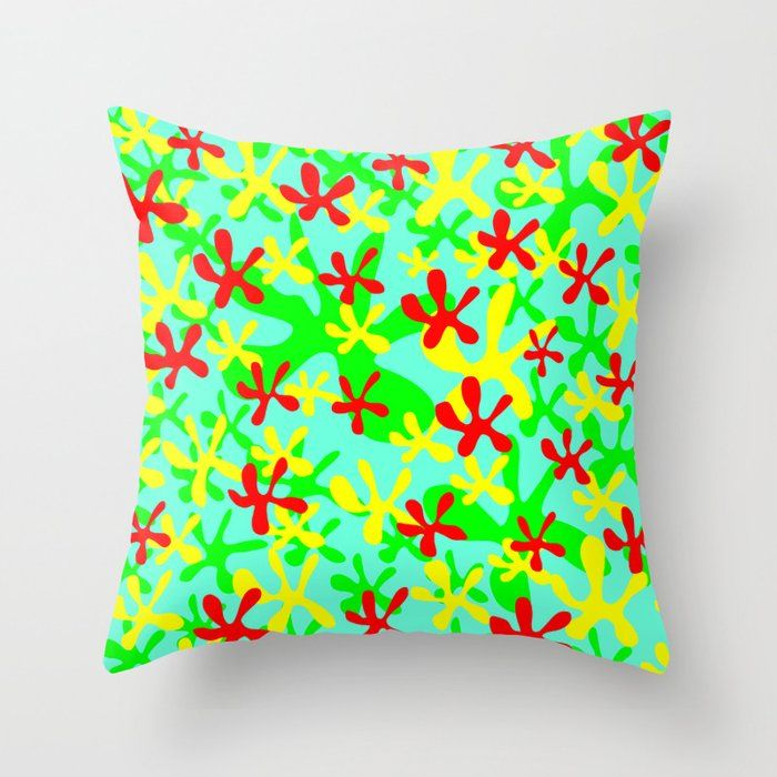 Abstract cute fanciful funny lovely flower shapes design. Throw Pillow by agnieszkazalewska