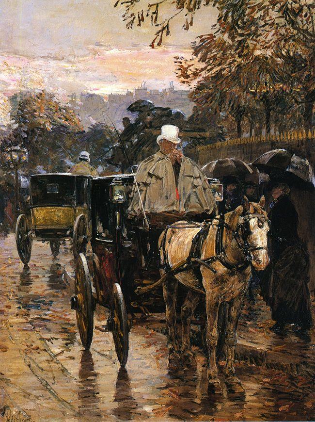 Hackney Carriage, Rue Bonaparte (aka Fiacre, Rue Bonaparte), Frederick Childe Hassam. American Impressionist Painter (1859-1935)