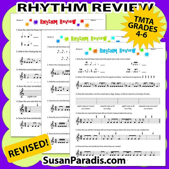 Rhythm Review 1-6 Revised | Worksheets | Piano teaching, Music