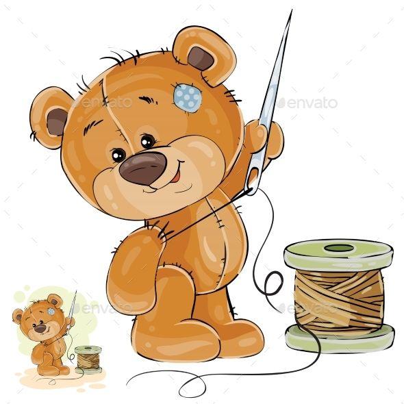 Vector Illustration Of A Brown Teddy Bear Tailor Brown Teddy Bear Vector Illustration Teddy Bear