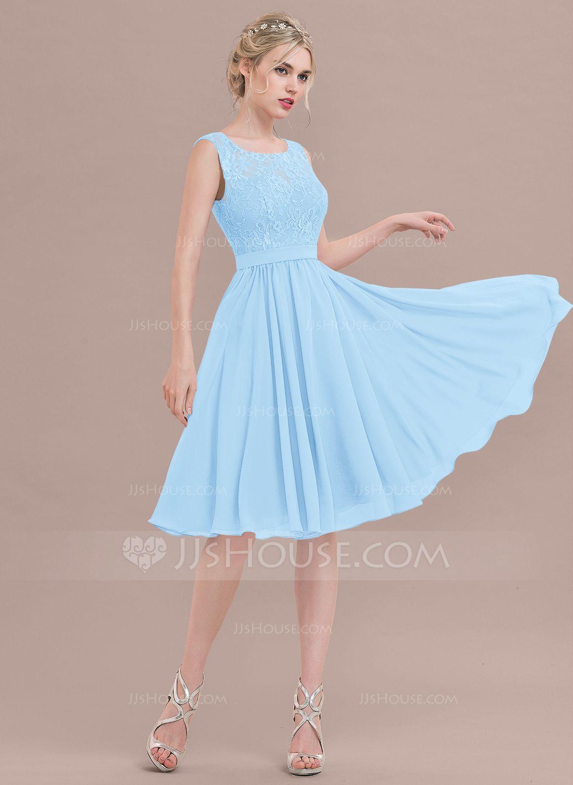 Alineprincess square neckline kneelength chiffon lace bridesmaid