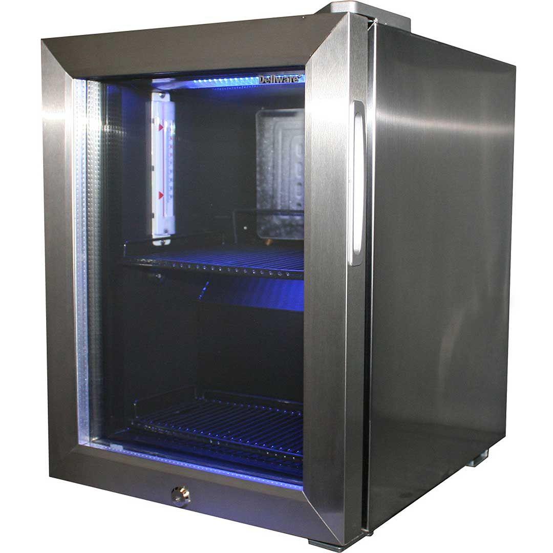 Dellware Mini Stainless Steel Glass Door Bar Fridge With Lock