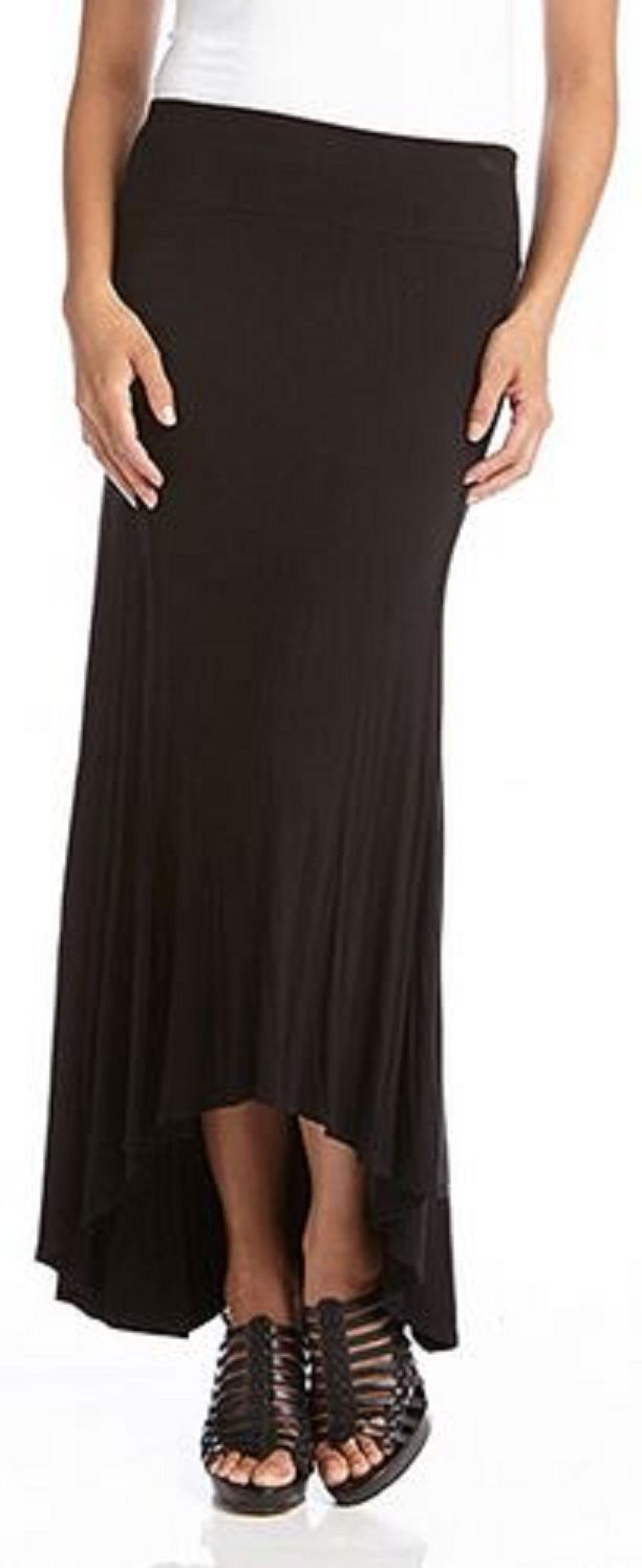 Love this Hi Lo Black Karen Kane Reverse Seam Maxi Skirt #Karen_Kane #KarenKane  #Black #Maxi #Skirt #Fashion