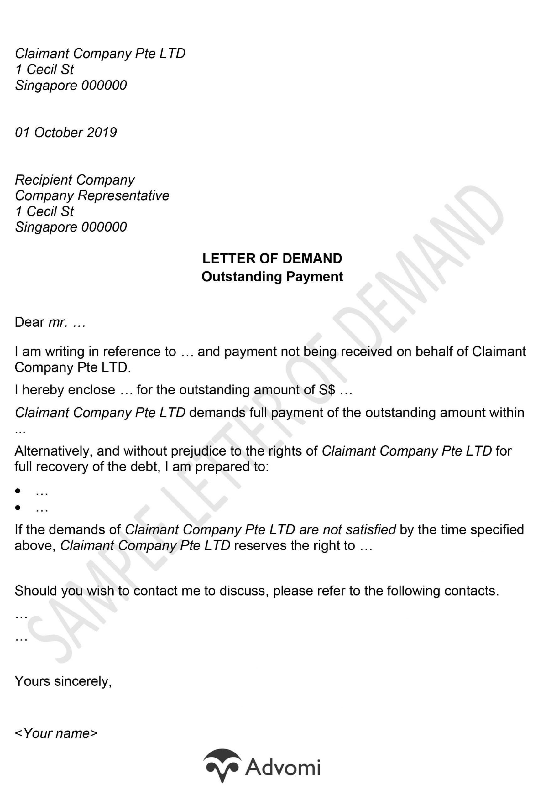 Sample Demand Letter for Payment in 2020 Lettering