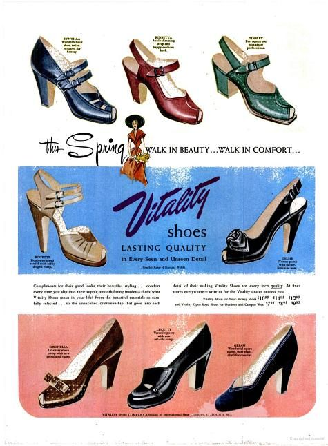 f1a84617df1 LIFE - 1950 Vitality Women s shoes 50s sandals open toe pumps heels green  red blue tan cream black brown 50s early print ad vintage fashion style