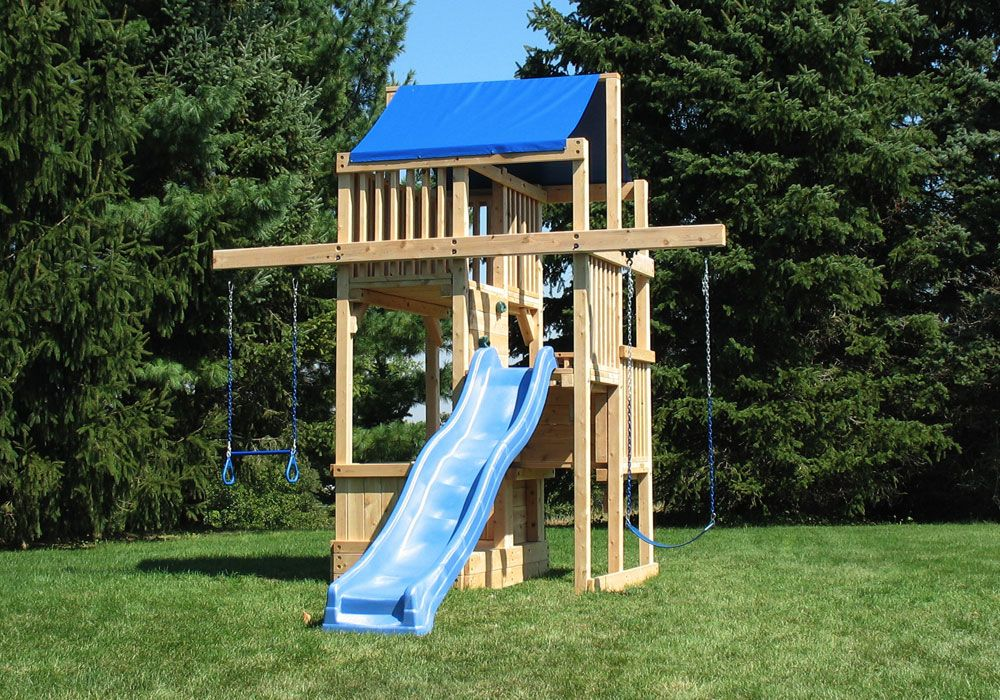 cedar swing sets the quad space saver tower wooden swingsets wooden playset - Cedar Swing Sets