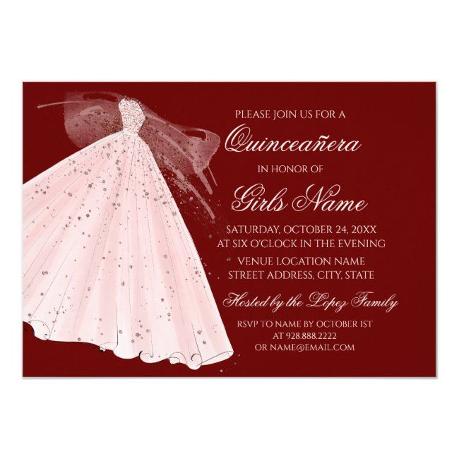 Burgundy & Pink Gown Sparkle Heels Quincea?era Invitation #Sponsored , #AFF, #Sparkle#Gown#Quincea#Heels
