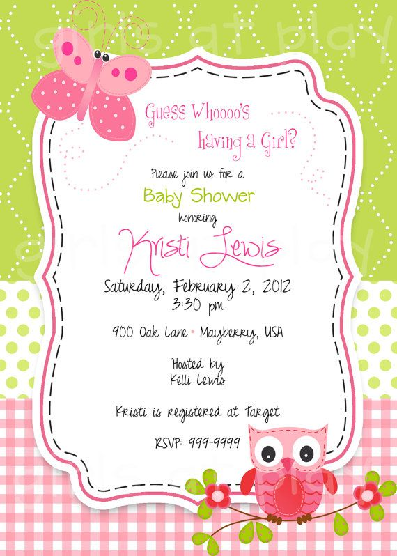 Baby Shower Girl Invitation Owl Butterfly Pink By