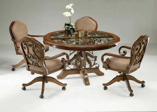 Pastel Furniture Carmel 5 Piece Dining Table Set With Caster Chairs