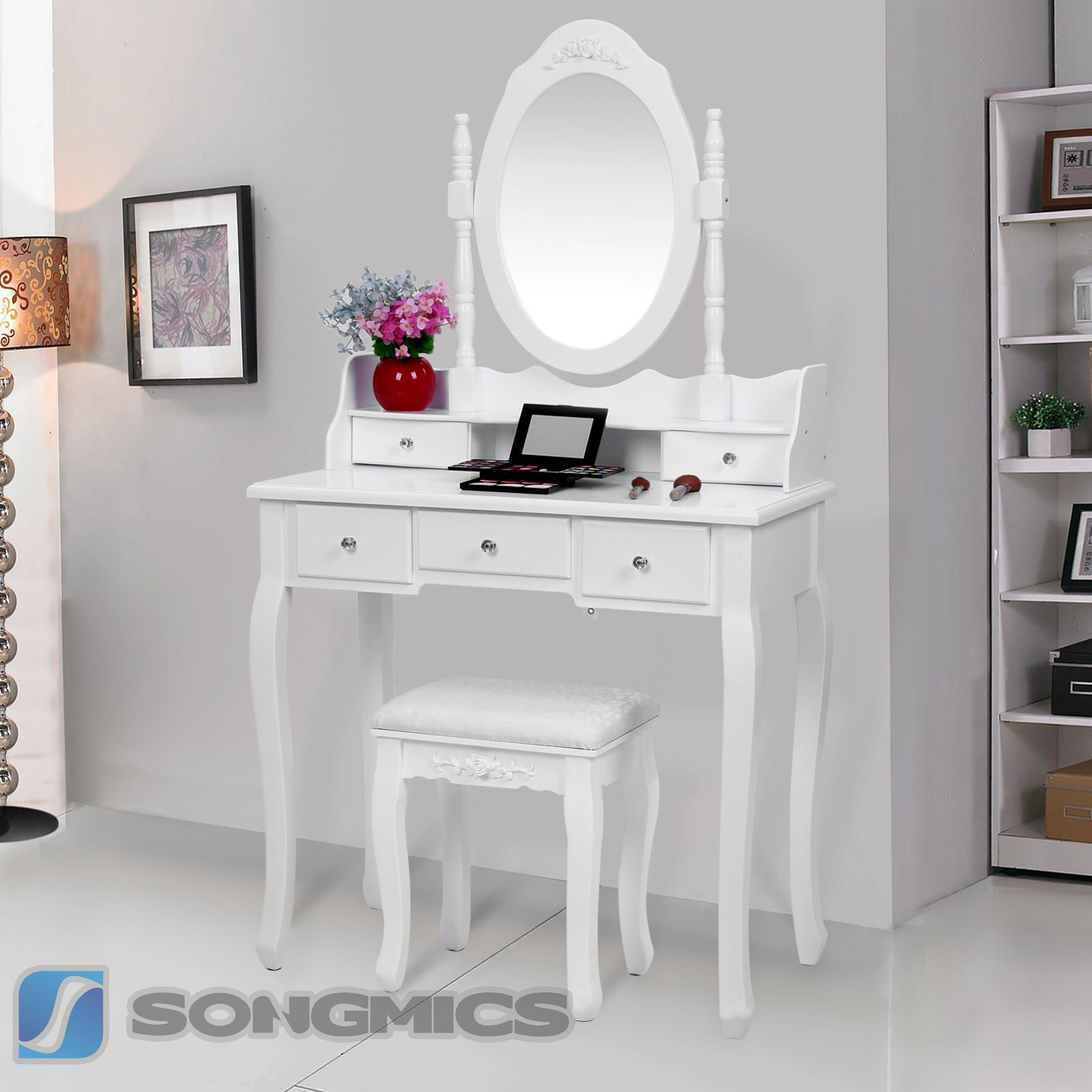 Details about songmics white ivory pink dressing table