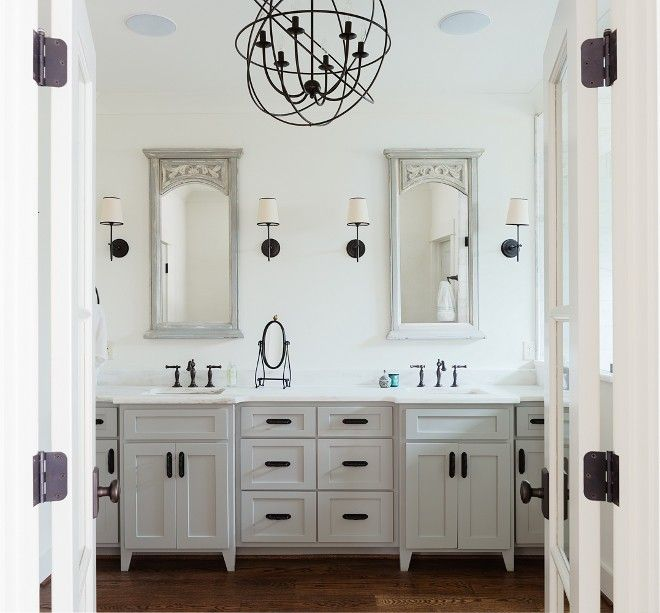 Gray Vanity And Mirrors Oil Rubbed Bronze Fixtures Light Grey