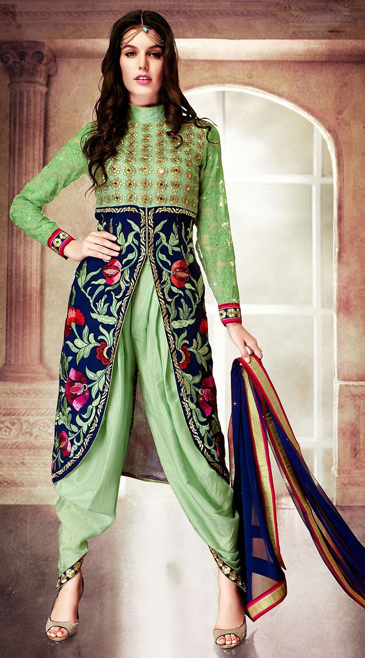 Exclusive Pastel Green Faux Georgette Designer Indo