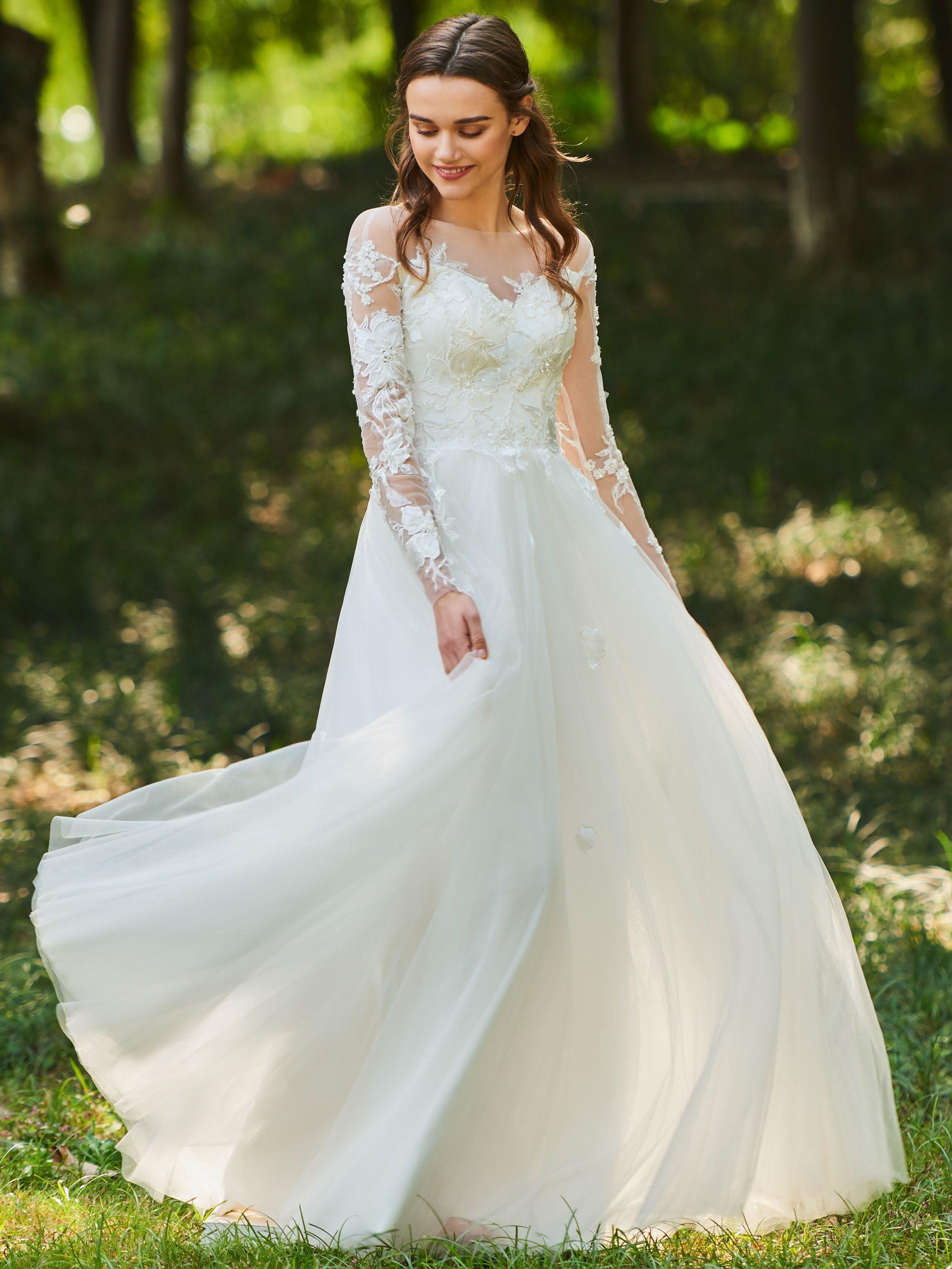 Ericdress ALine Long Sleeves Tulle Wedding Dress ON SALES