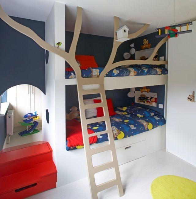 Hochbett selber bauen kreativ  Etagenbett Kinderzimmer-Einrichtung Leiter-Baum modern ideen ...
