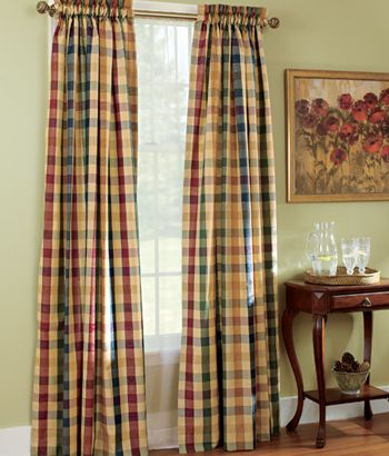 Moire Plaid Rod Pocket Curtains For The Dining Room Ties In The