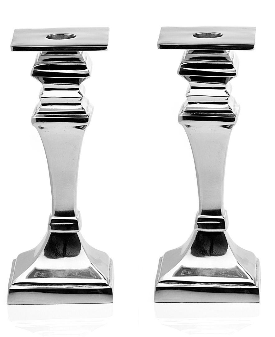 "Closeout! Godinger Candle Holders, Set of 2 Square Candlesticks 8"""