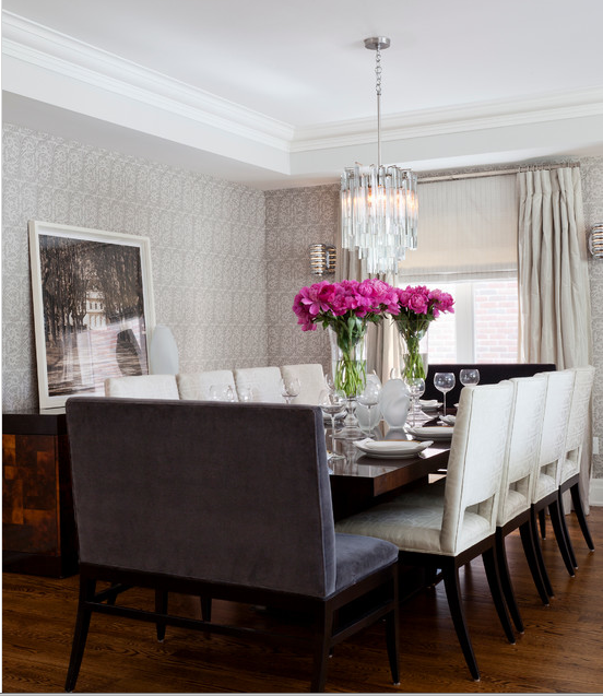 Formal Dining Room Window Treatments: Glamorous Dining Room : Seating Arrangement : Lighting