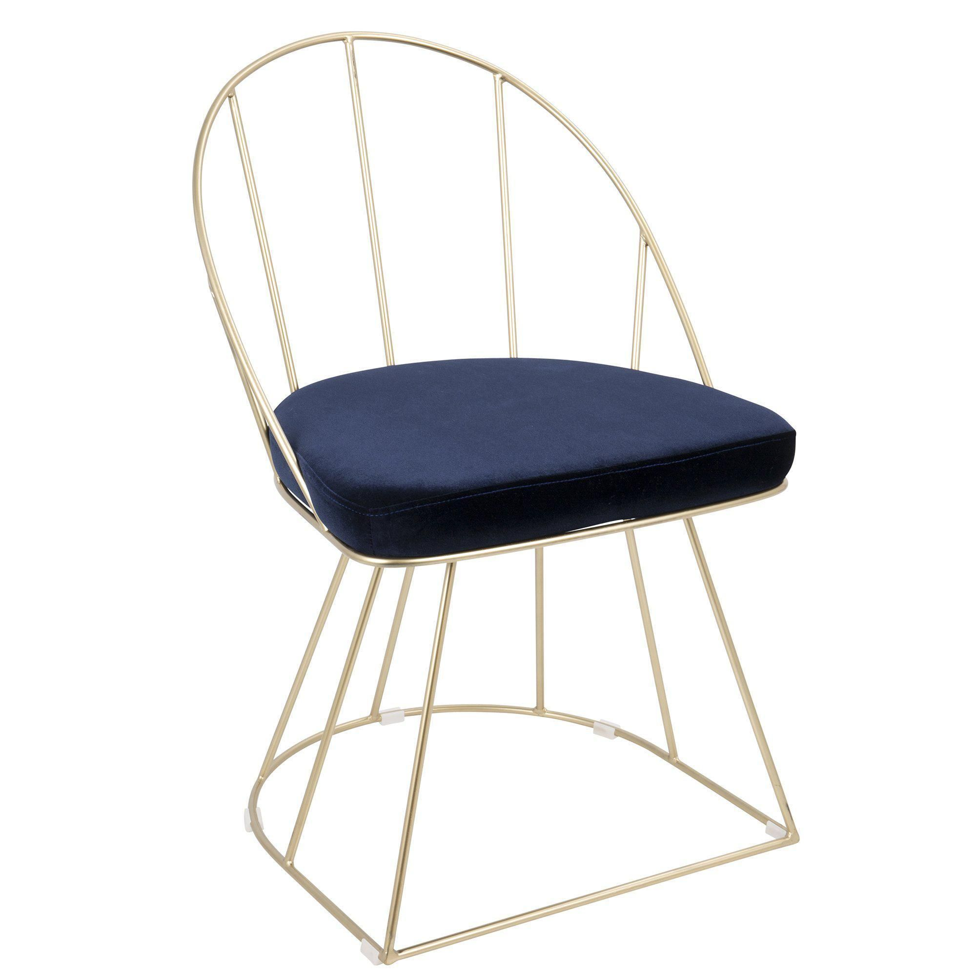 Canary contemporary diningaccent chair in gold and blue