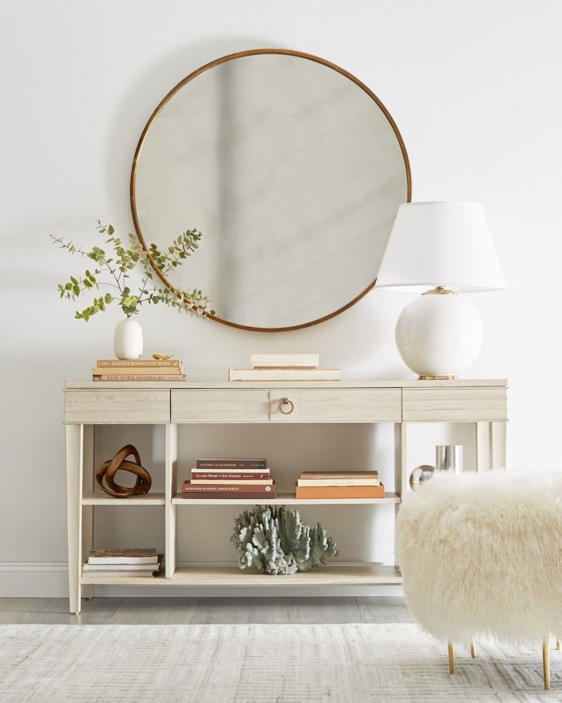 Love This Simple All White Entryway Look With A Tiered Console