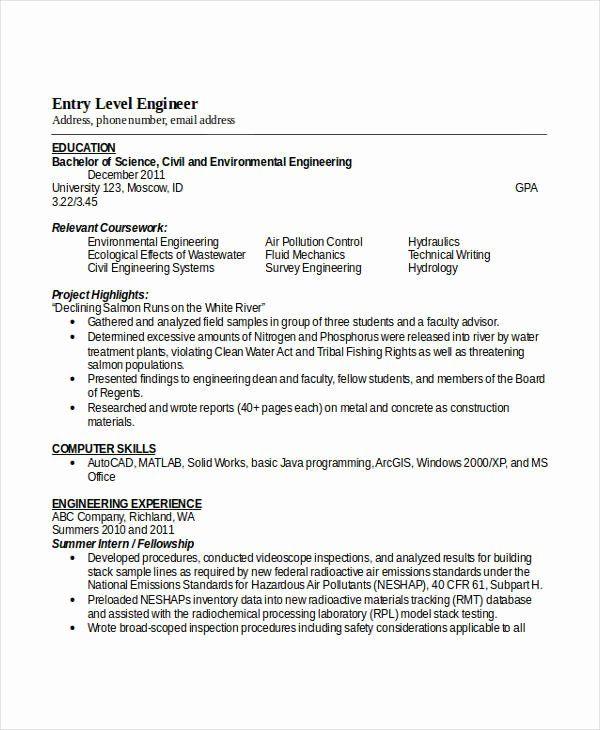 Entry Level Engineering Resume Inspirational Engineering Resume Template 32 Free Word Docume Engineering Resume Templates Engineering Resume Free Word Document