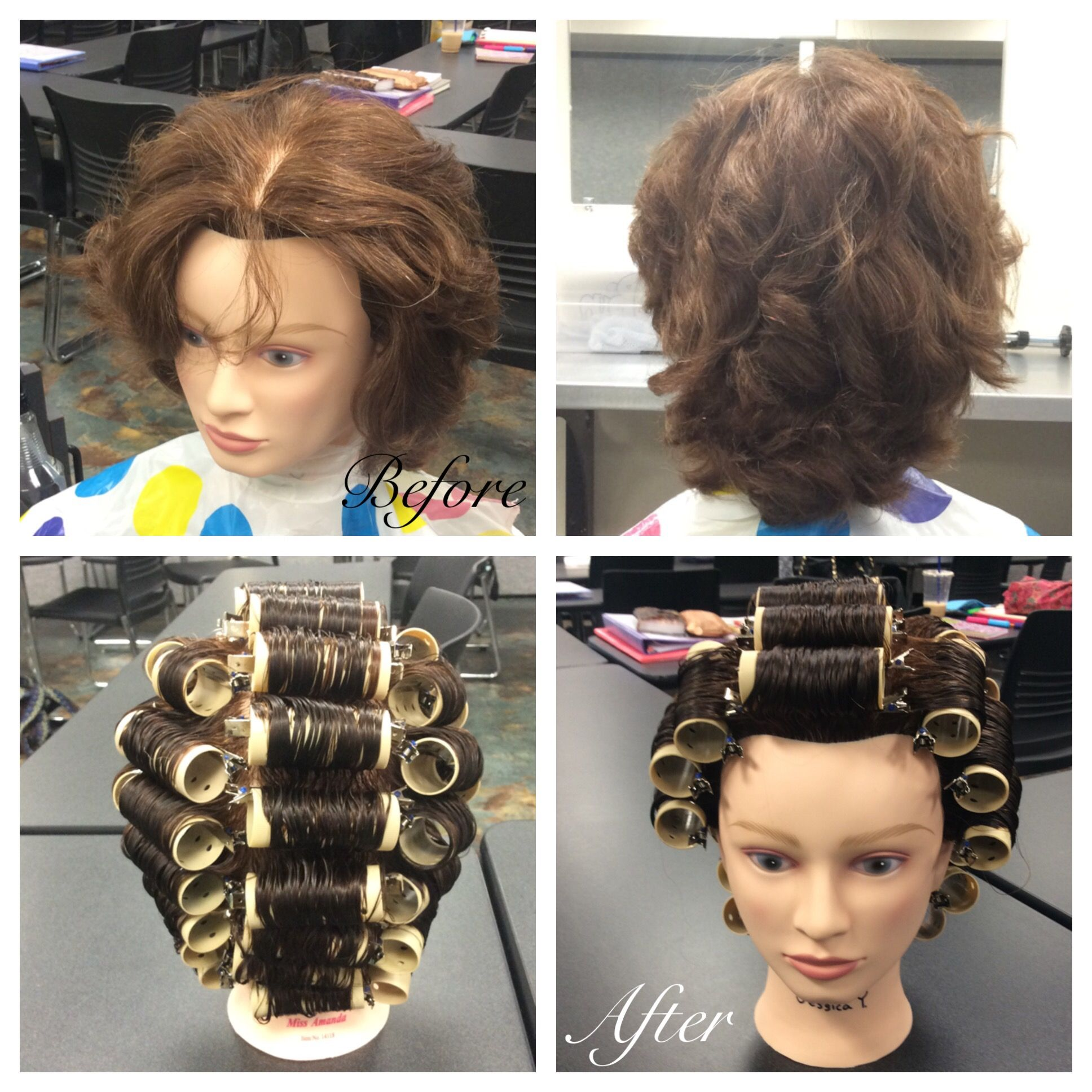 Wet Set on mannequin using medium rollers. First sectioned
