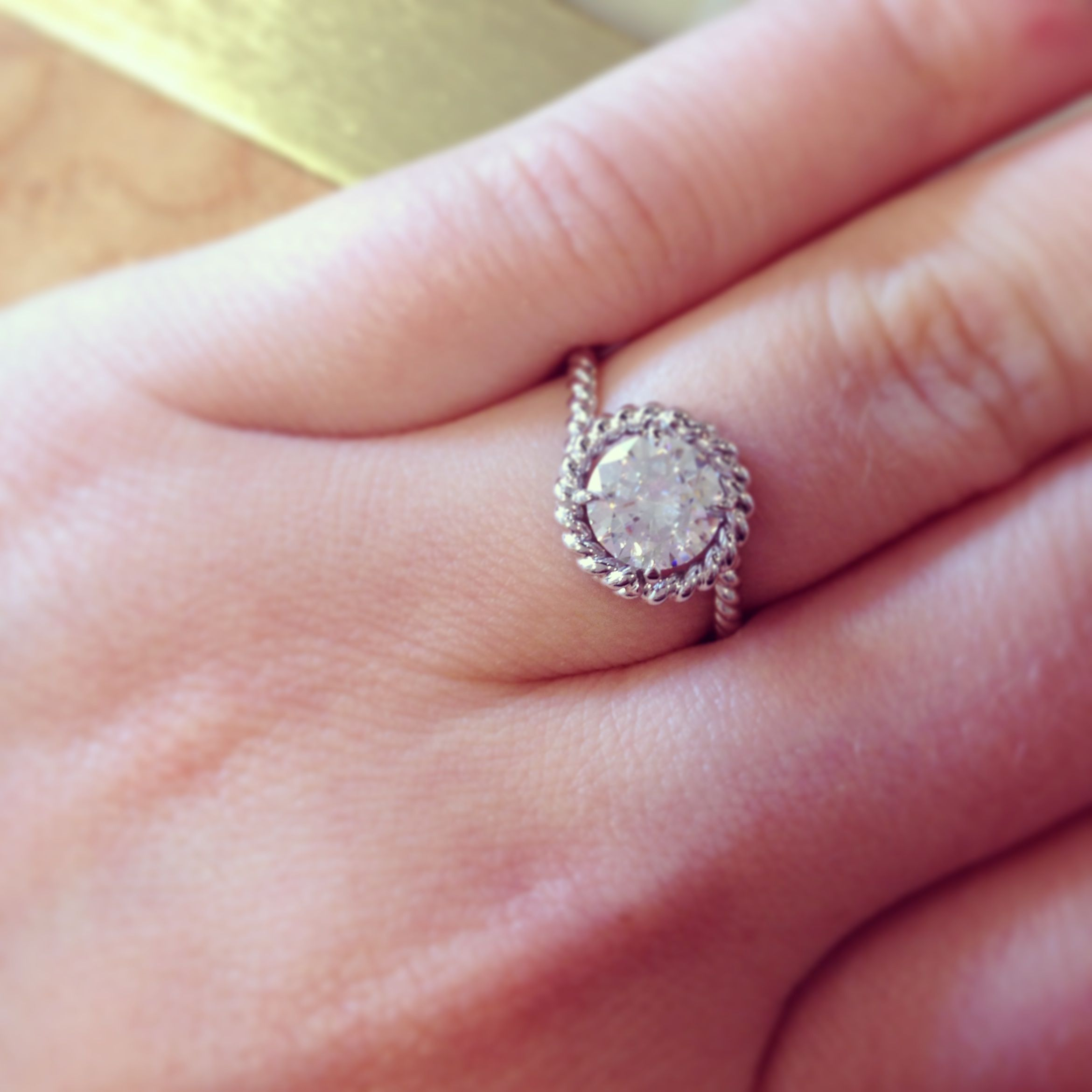 Lovely rustic inspired bridal wear, this diamond engagement ring is ...