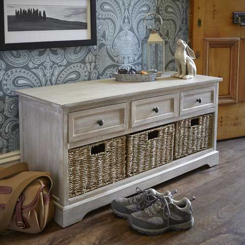 Lime Washed White Hallway Storage Bench