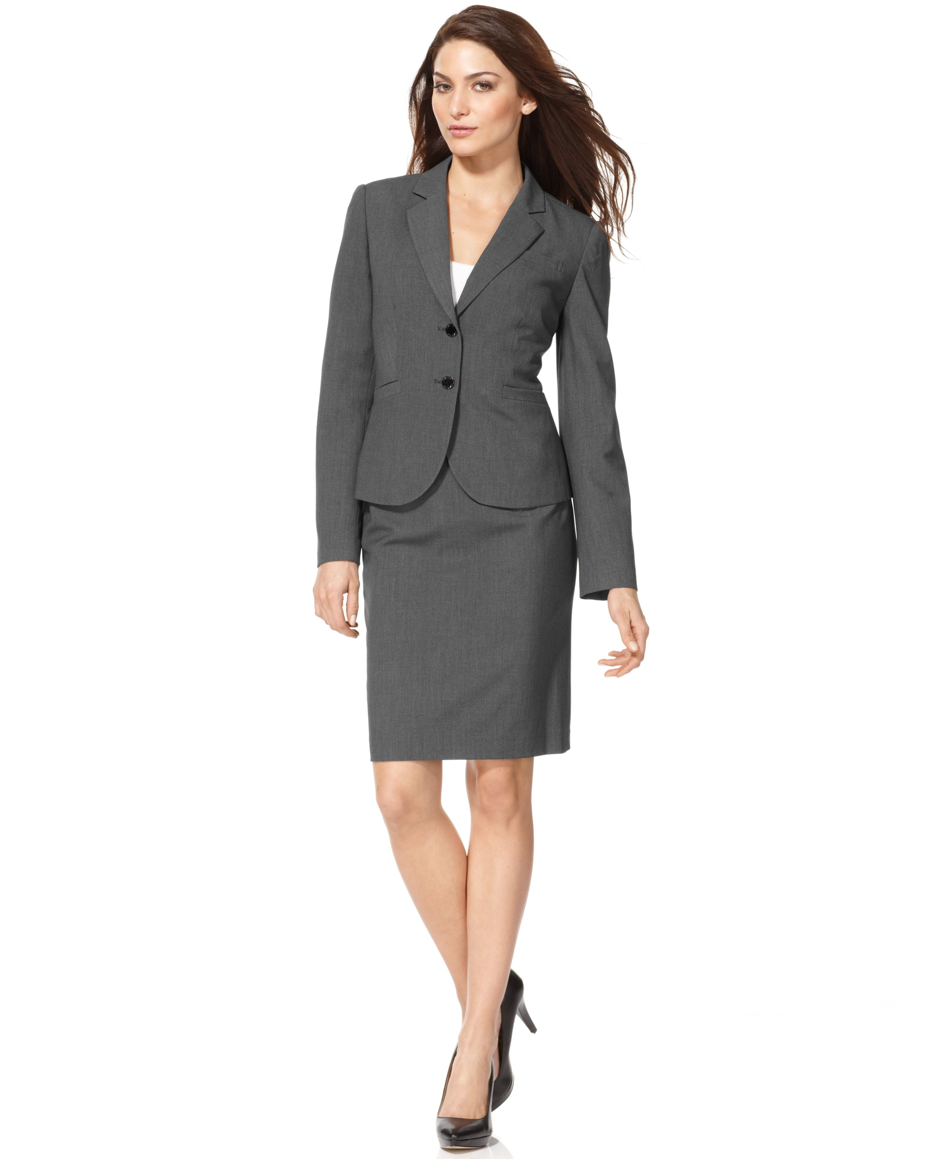 88dc248baa MACYS ---- Calvin Klein Two-Button Blazer Skirt Suit ---- 1157443_fpx ----  Christina Ionno ----