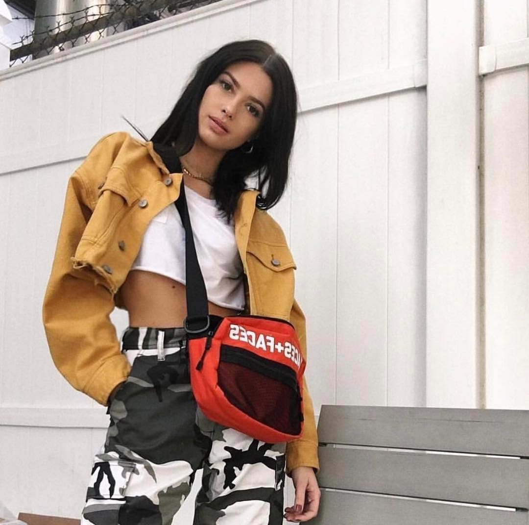Insta Baddie Outfit Inspo Yellow Mustard Cropped Jacket + White Cropped Tee + Camo Pants. # ...