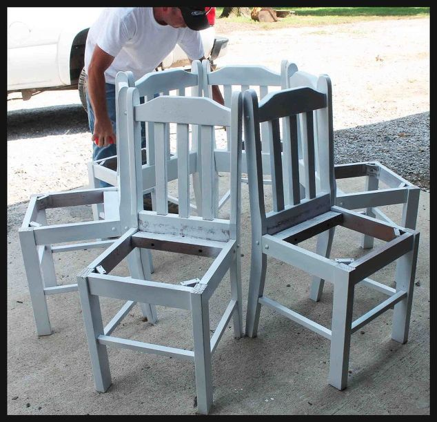 he puts kitchen chairs in a circle. what they become? this backyard