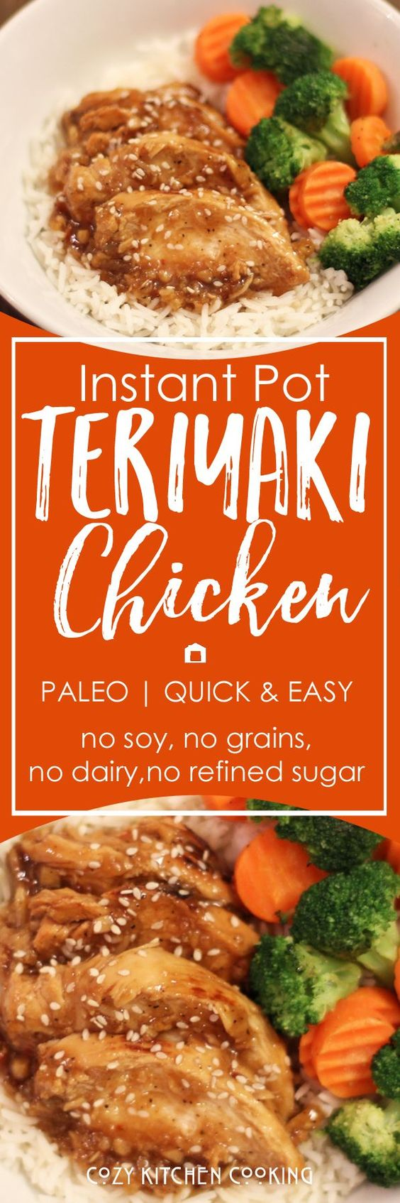 Instant Pot Teriyaki Chicken recipe that is paleo, soy-free, grain-free, refined sugar-free, and comes together so fast!