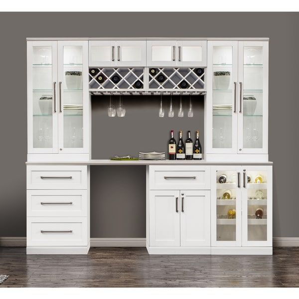 NewAge Products White Shaker-style 8-piece Home Bar Cabinet System ...
