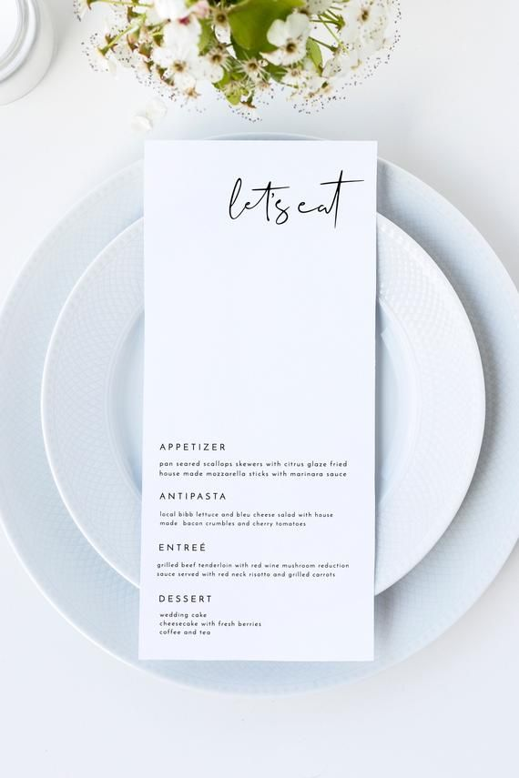 Adella - Minimal Wedding Menu Template, Minimalist Wedding Menu, Modern Wedding Menu, Let's Eat Menu, Templett Wedding Menu #weddingmenuideas