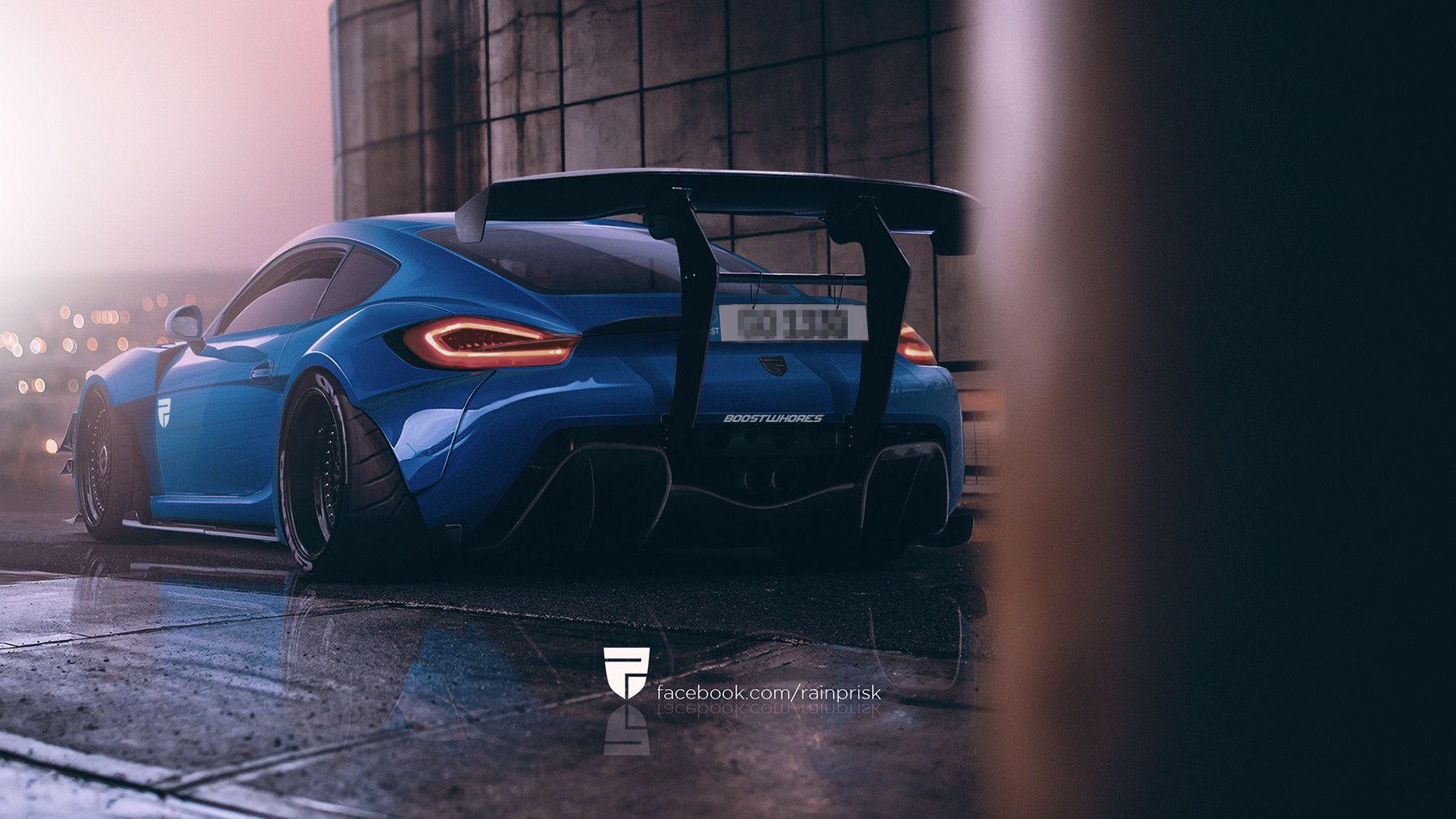 Monster Porsche Hurricane Concept Design: Fat Monster Porsche Cayman, Rain Prisk