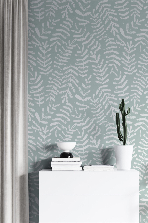 Blue Grey Leaf Wallpaper Peel And Stick Botanical Self Etsy Blue Wall Covering Leaf Wallpaper Sage Green Bedroom