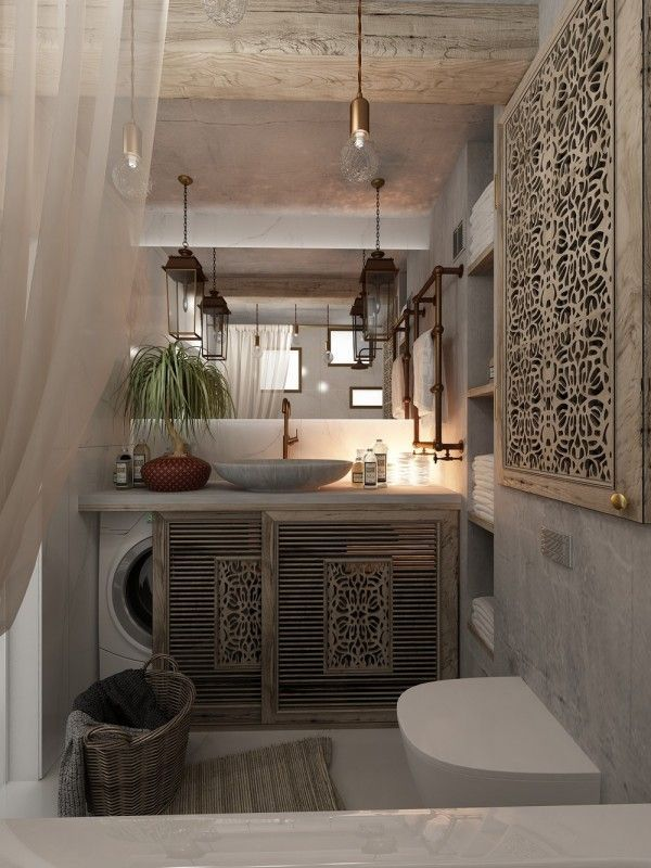 Casinha colorida Hometour um loft Country e BoHo Chic is part of Laundry in bathroom -