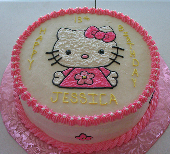 Round Hello Kitty cake with Hello Kitty cake topperPNG