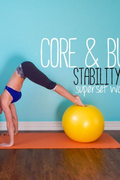 core and butt stability ball superset workout