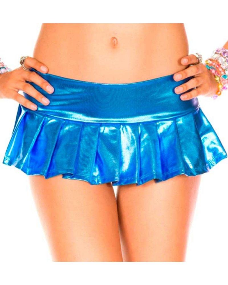 Metallic Pleated Mini Skirt Blue - Skirts/Petticoats - Column 1 ...