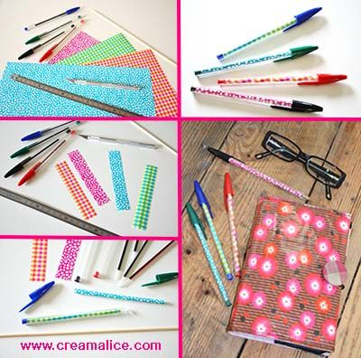 diy stylos bille customis s bricolages diy school supplies diy crayons et diy agenda. Black Bedroom Furniture Sets. Home Design Ideas
