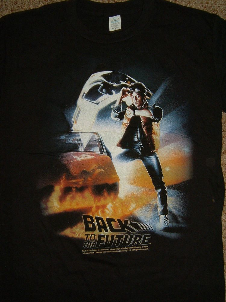 b01006337 Damaged Back To The Future Poster Movie T-Shirt L Large #BacktotheFuture  #GraphicTee