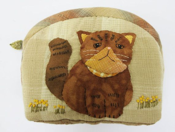 Free shipping handmade cat kitty quilt applique cotton by Khanoon