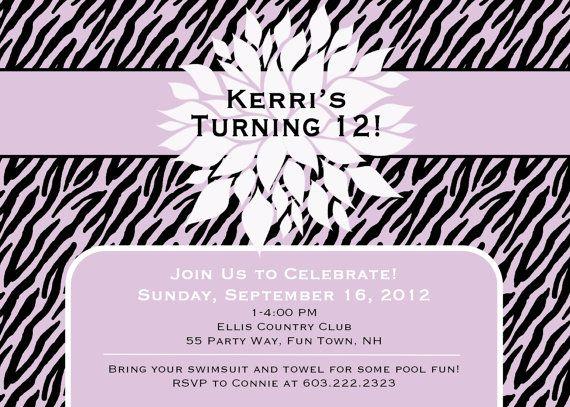 Birthday Party Invitation Zebra Print by AsYouWishCreations4u
