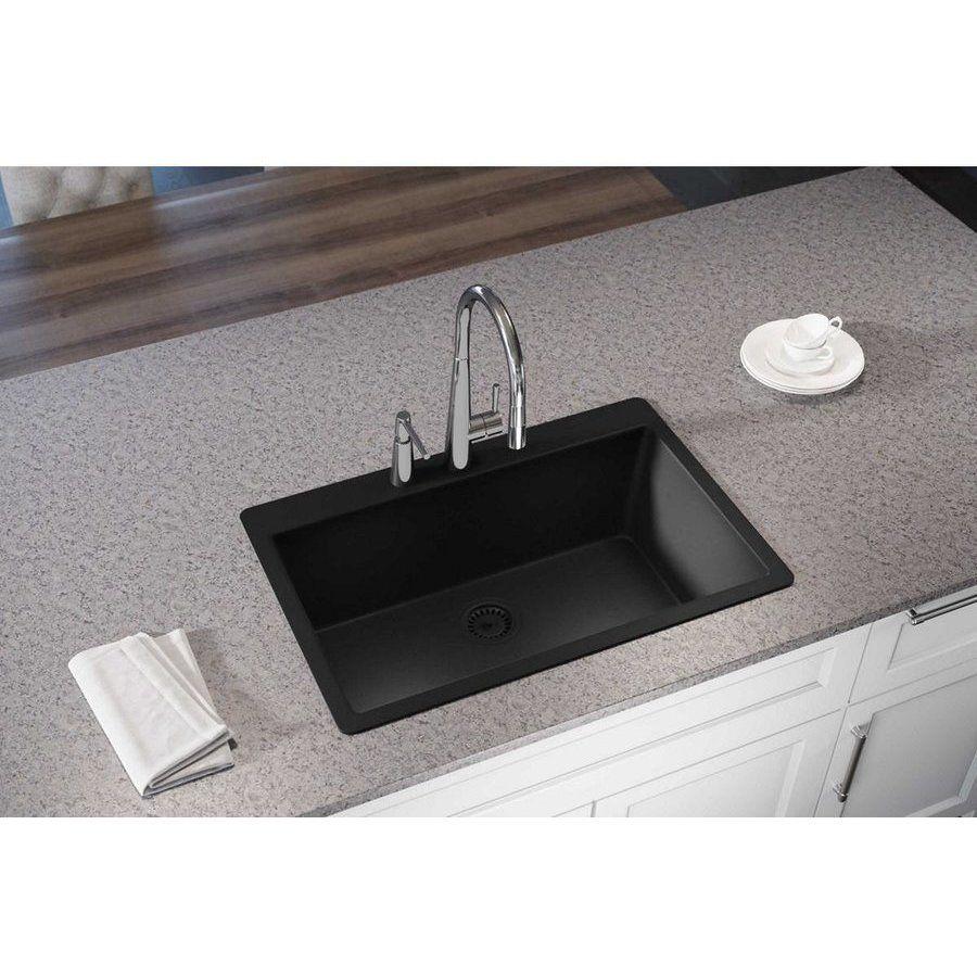 Elkay Quartz Luxe 33 Inch Single Bowl Drop In Sink Caviar Elxr13322ca0 Sink Composite Sinks Elkay